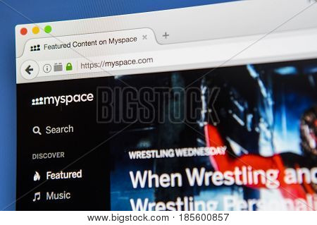 LONDON UK - APRIL 20TH 2017: The homepage of the official Myspace social networking website on 20th April 2017.