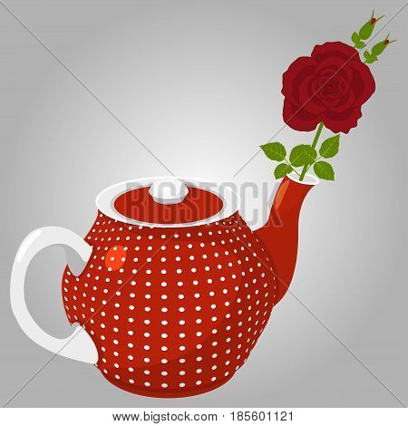 Red rose in a spotted teapot on a gray background, vector illustration