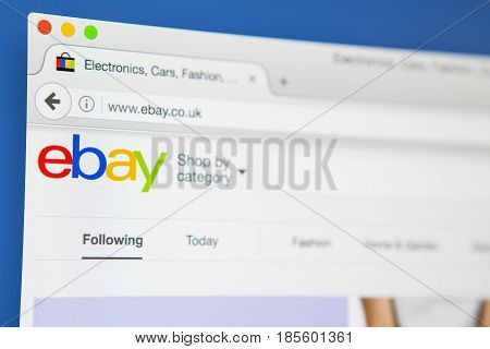 LONDON UK - APRIL 20TH 2017: The homepage of the official website for Ebay the online auction and sales website on 20th April 2017.