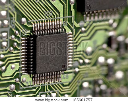 Integrated circuit on circuit board macro shot
