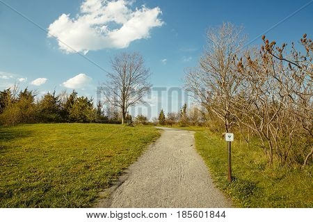 healthy trail sign. trail for hiking and jogging in the park