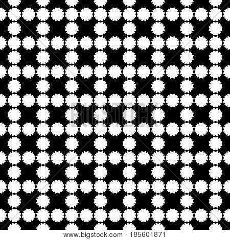 Vector seamless pattern, simple floral geometric texture. White flower silhouettes on black backdrop, square grid, repeat tiles. Abstract dark background, old style design. Element for prints, decor