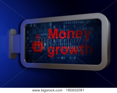 Currency concept: Money Growth and Money Box With Coin on advertising billboard background, 3D rendering