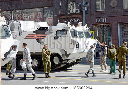 Russian military Arctic equipment and soldiers at the Victory Day rehearsal in Moscow on Tverskaya Street 07/05/2017. Anti-aircraft missile and gun system