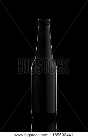 Black Bottle of beer or cider with gradient Glare on black background wirh reflection