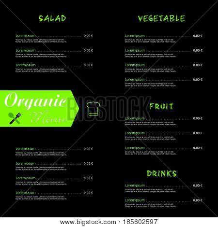 Organic Menu Food In Color Illustration