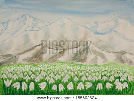Landscape with first spring flowers snowdrops and hills behind, illustration watercolor painting.