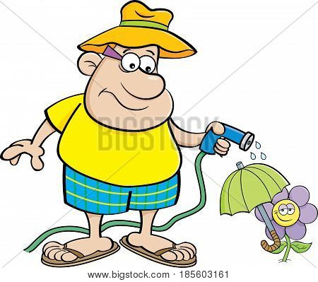 Cartoon illustration of a man watering a flower with a garden hose.