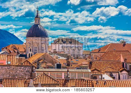 Scenic aerial view on rooftops in historic town Dubrovnik, famous european travel resort on Mediterranean Coast, Croatia.
