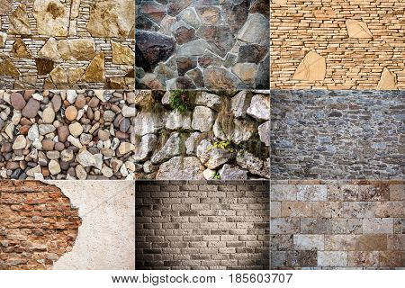 stone wall pattern natural surface. backgrounds old retro panel