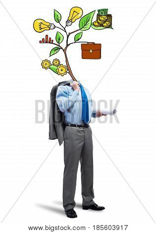 Faceless businessman on white background with drawn growth concept instead of head