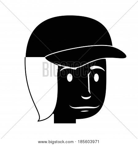 silhouette of man wearing a cap, cartoon icon over white background. vector illustraiton