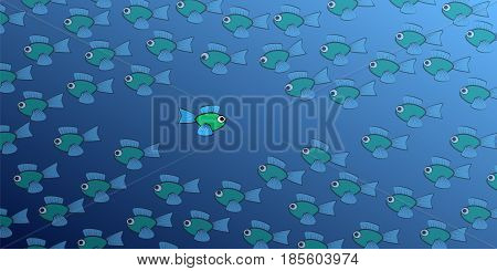 Swimming against the tide - one brave, daring fish swims in the opposite direction to the school of fish - symbol for courage, individuality, diversity or being an outsider. Isolated vector comic illustration.