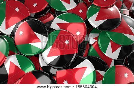 Jordan Badges Background - Pile Of Jordanian Flag Buttons.