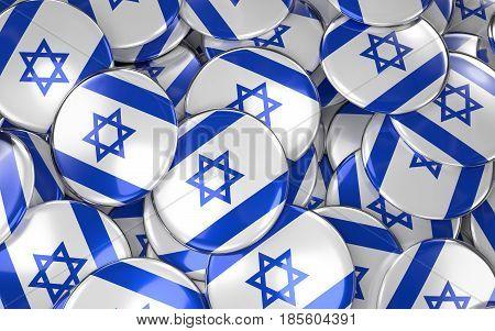 Israel Badges Background - Pile Of Israeli Flag Buttons.