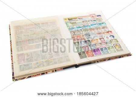 A storage book used by collectors for storing postage stamps