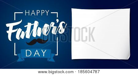 Happy Fathers Day lettering banner dark blue. Happy father`s day vector lettering background, you are the best dad