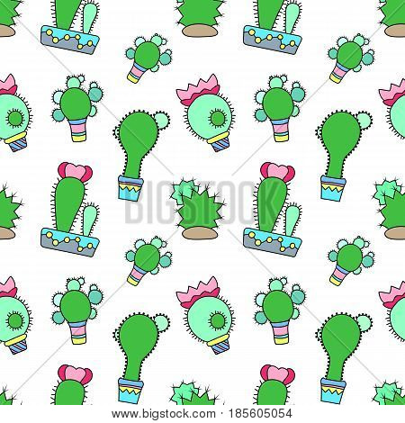 Blooming cactus vector seamless pattern on white background. Green plants pattern tile. Cacti flowerpot pattern for textile or wrapping paper. Cactus doodle background. Succulent texture paper print