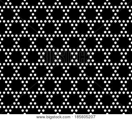 Vector monochrome seamless pattern. Simple geometric texture with small hexagons. Black and white illustration, hexagonal grid. Repeat dark abstract geometrical background. Design for textile, prints