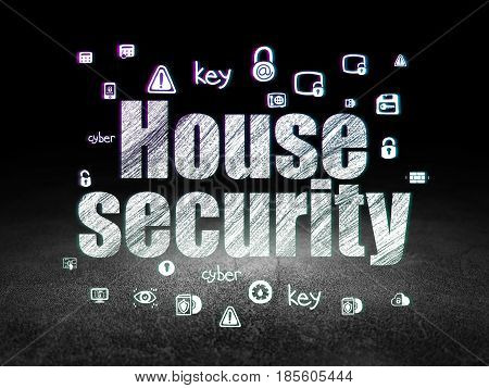 Security concept: Glowing text House Security,  Hand Drawn Security Icons in grunge dark room with Dirty Floor, black background