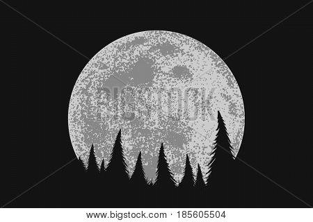 Forest in the night on full moon background.Mysterious nature.Vector illustration