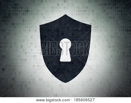 Privacy concept: Painted black Shield With Keyhole icon on Digital Data Paper background