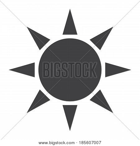 Sun solid icon, weather and sunshine, vector graphics, a filled pattern on a white background, eps 10.