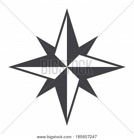 Wind rose solid icon, navigation and travel, compass vector graphics, a filled pattern on a white background, eps 10.