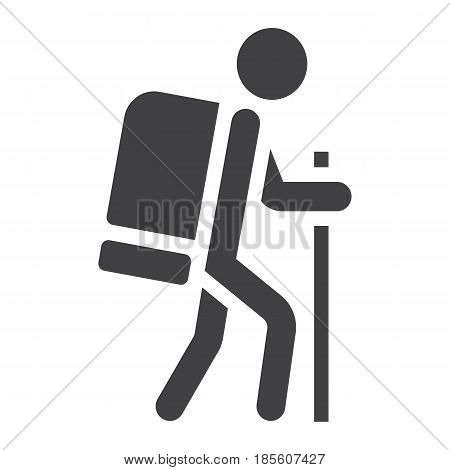 Hiking solid icon, Travel and tourism, tourist vector graphics, a filled pattern on a white background, eps 10.