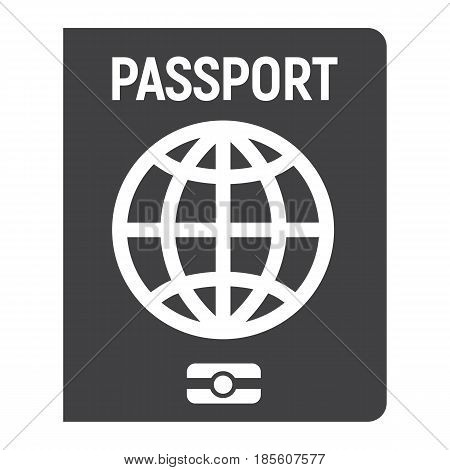 Passport solid icon, travel and citizenship element, vector graphics, a filled pattern on a white background, eps 10.