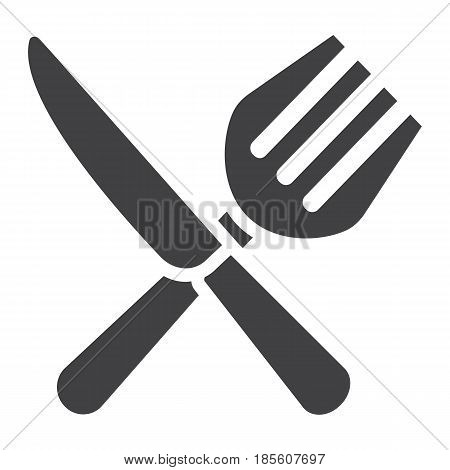 Fork and Knife solid icon, dinner and restaurant, vector graphics, a filled pattern on a white background, eps 10.