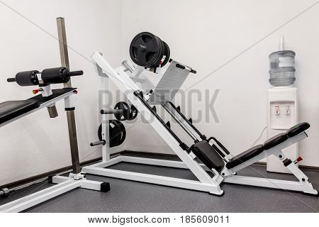 Modern Gym Weight Training Equipment For Exercises And Rehab, Leg Presses. Rehabilitation Equipment