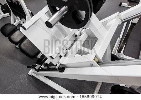 Dumbbells, Modern Gym Weight Training Equipment For Exercises And Rehab, Leg Presses. Rehabilitation