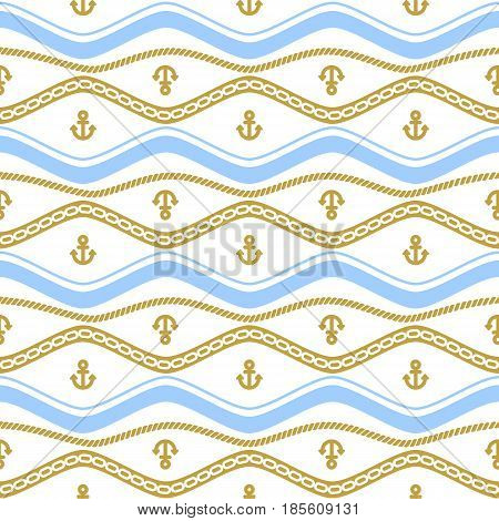 Seamless pattern with chains. Ongoing stripes background of marine theme golden and blue color. Vector illustration