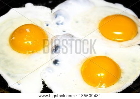 Fried Eggs In A Frying Pan  For Breakfast On A Black Background
