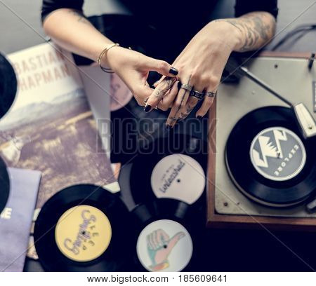 DJ with classic oldschool music vinyl record