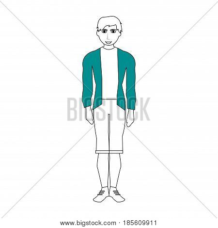 handsome man with muscular body wearing sweater and shorts icon image vector illustration design