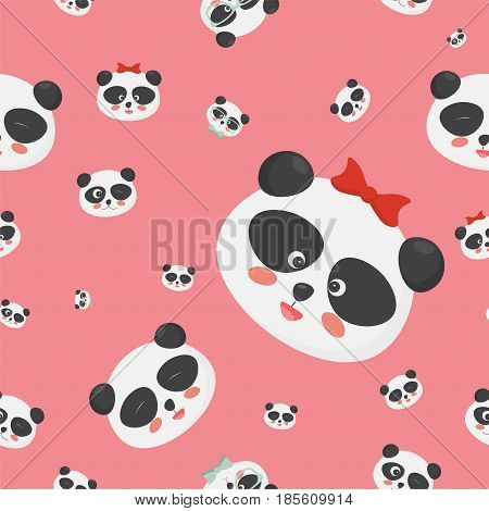 Vector seamless pattern: panda bear faces on a childish pink background, panda faces with different emotions. Great for textile, fabric, cloth prints, wallpapers or wrapping template.