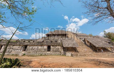 The Acropolis in Ek Balam, the Mayan Archaeological Site. Maya Ruins, Yucatan Peninsula, Mexico