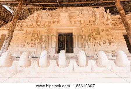 The tomb of Ukit Kan Lek Lok in the acropolis at Ek Balam in Mexico