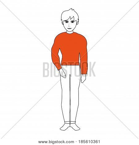 handsome man with muscular body wearing fitted pants and shirt icon image vector illustration design