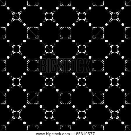 Black & white subtle background, square geometric seamless pattern with thin linear figures, stars, quadrats. Abstract dark repeat monochrome texture. Minimalist design for fabric, cover, digital, web