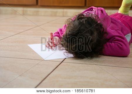Little Girl Writing I Love Mommy
