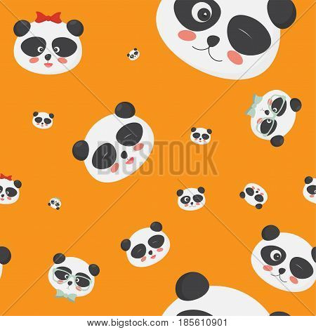 Vector seamless pattern: panda bear faces on a yellow background, panda faces with different emotions. Great for textile, fabric, cloth prints, wallpapers or wrapping template.