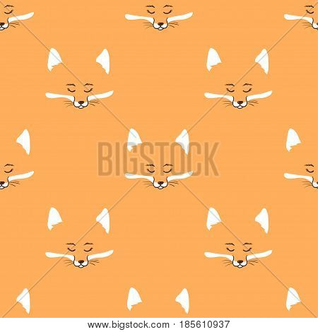 Cute foxes seamless pattern. Vector background with fox heads.