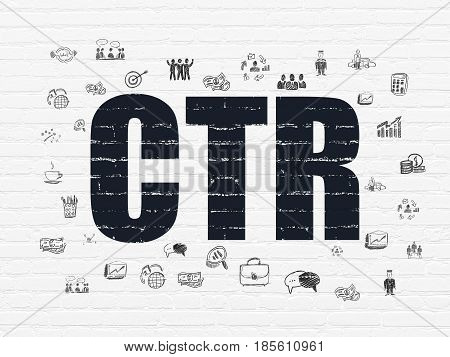 Finance concept: Painted black text CTR on White Brick wall background with  Hand Drawn Business Icons