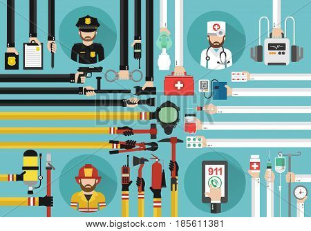 Emergency call 911 concept design flat.Vector illustration