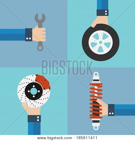 Car service flat design set with wheelshock absorberbrake disk.Vector Illustration