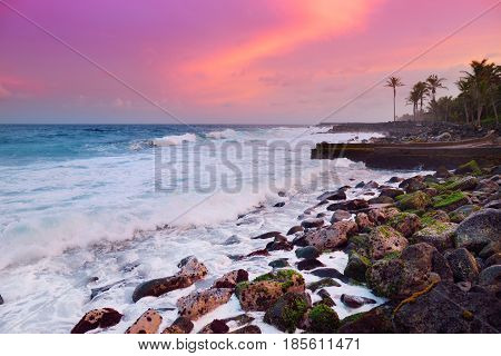 Beautiful Pink Tinted Waves Breaking On A Rocky Beach At Sunrise On East Coast Of Big Island Of Hawa