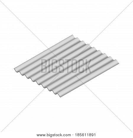 Wave slate sheet isolated on white background horizontal arrangement. Element of the design of building materials. 3D isometric style vector illustration.